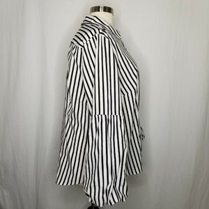INC International Concepts Tops - INC Black White Striped Bell-Sleeve Button Shirt